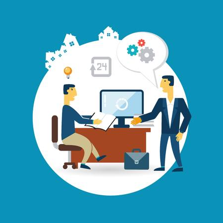 businessman working at his desk and talking with the head illustration Vector