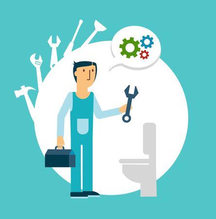 septic: plumber repairing a toilet illustration