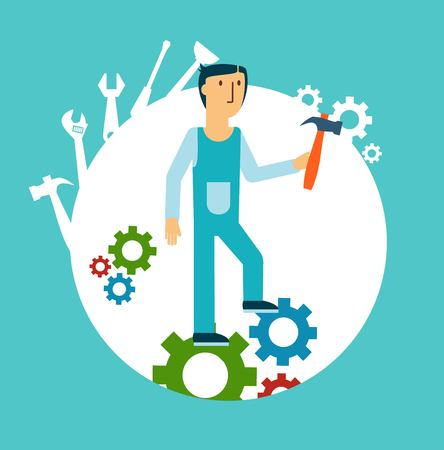 handy men: plumber holding a hammer illustration Illustration