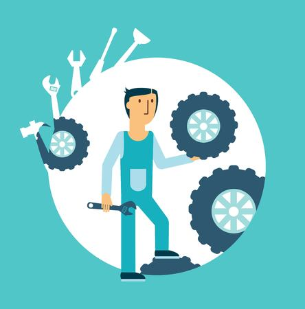 operative: Fitter repairing wheels illustration Illustration