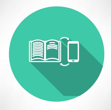 smartphone icon: smartphone and book exchange icon Illustration
