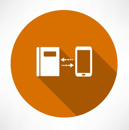 smartphone icon: smartphone and notepad exchange icon