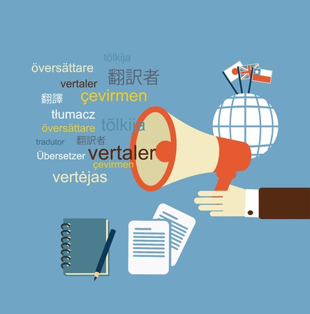 applauding: translator  says in speaker illustration Illustration