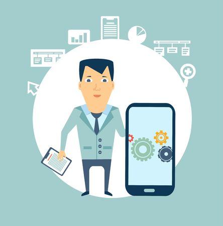 programmer works in a mobile phone illustration Vector