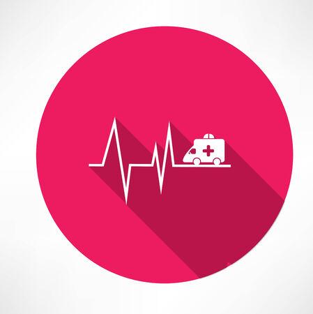 ambulance on pulse icon Vector