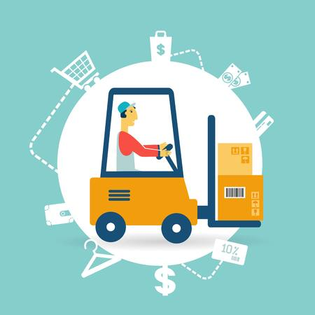 Loader lifts boxes icon