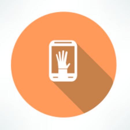 smartphone hand: hand in smartphone icon Illustration