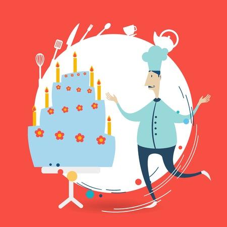 chef decorate a cake illustration Vector