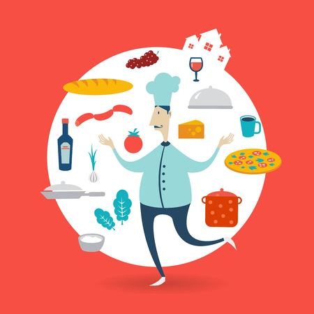 make a paste: chef preparing a meal illustration