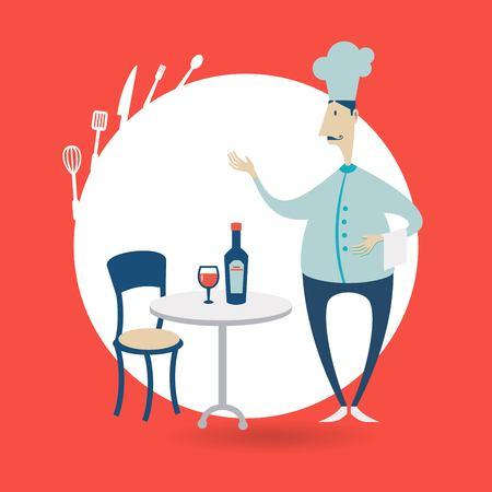 chef standing at the table in a restaurant illustration Illusztráció