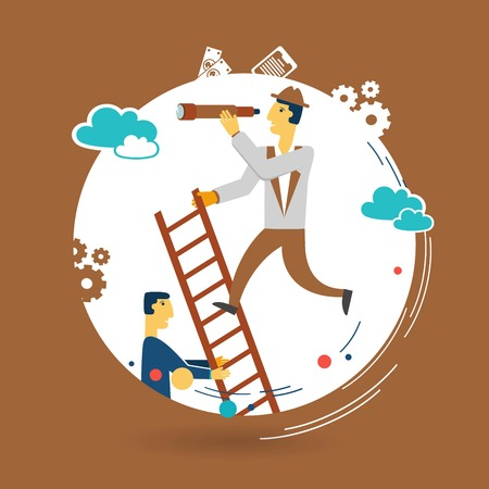 Businessman looking through a telescope and standing on the stairs illustration Vector