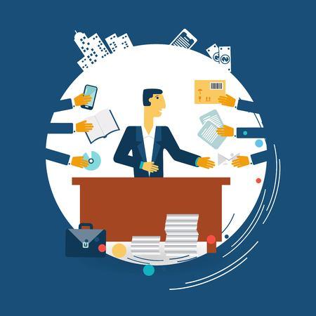 exhausted businessman work illustration  イラスト・ベクター素材