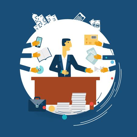 exhausted businessman work illustration Illustration