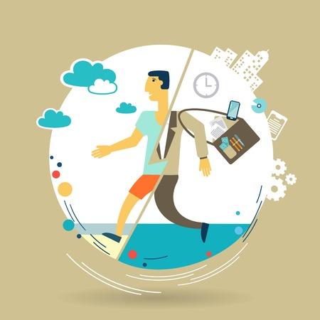 escapes: businessman escapes from work to rest illustration Illustration