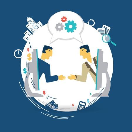 businessmen talking about work via Skype illustration