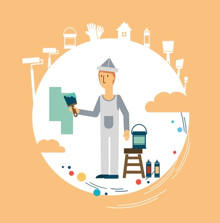 redecorate: painter paints the wall illustration