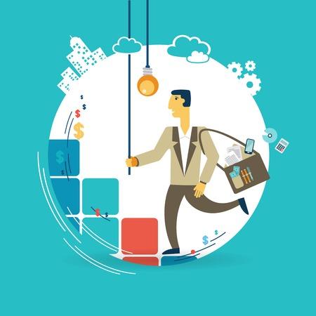Businessman runs up the career ladder with ideas illustration Illustration