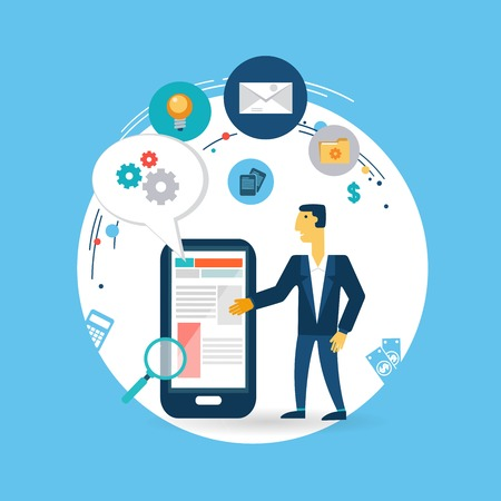 holding smart phone: businessman working on the phone Vector illustration