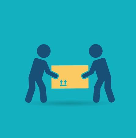 empty warehouse: loader bears box icon Illustration