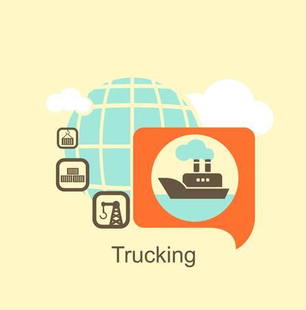 vrachtschip icoon Stock Illustratie