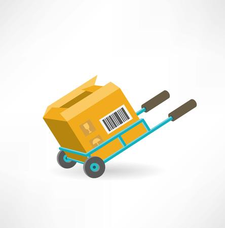 cargo box on the cart icon Иллюстрация