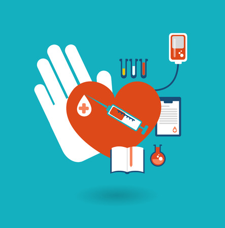 donor: hand holding a donor heart, ready for blood transfusion icon