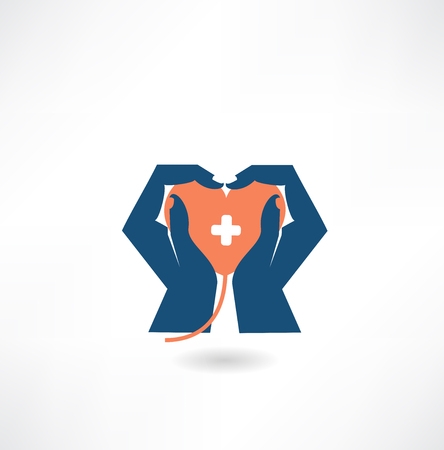 hands holding heart: hands holding the heart donor icon Illustration