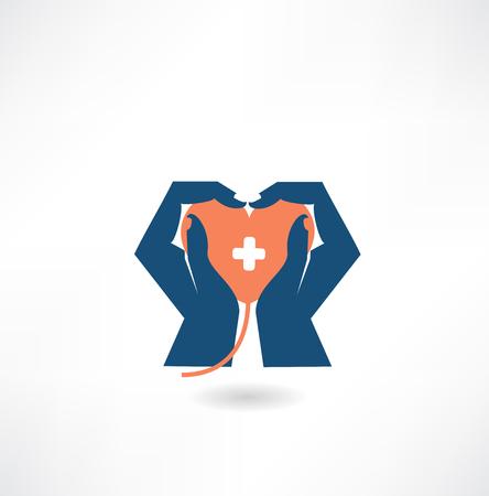 donor: tomados de la mano en el icono de donantes de coraz�n