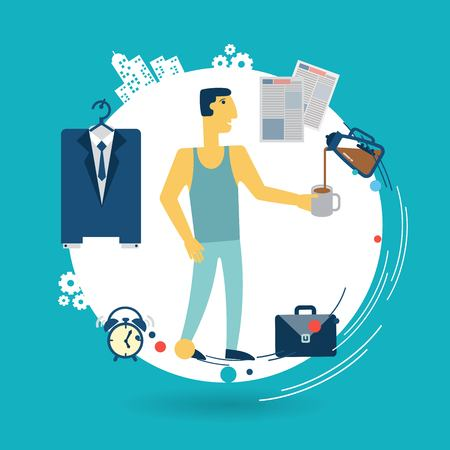 businessman is going to work in the morning illustration Vector