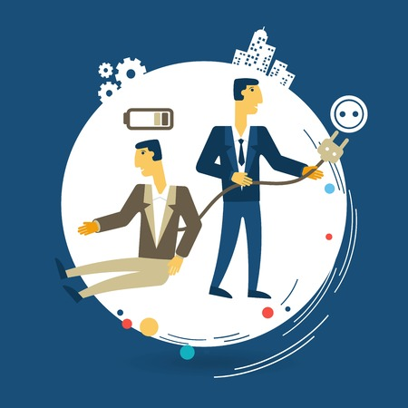 polarity: boss charges tired worker illustration