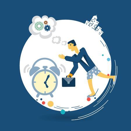 oversleep: businessman wakes up in the morning alarm clock illustration Illustration
