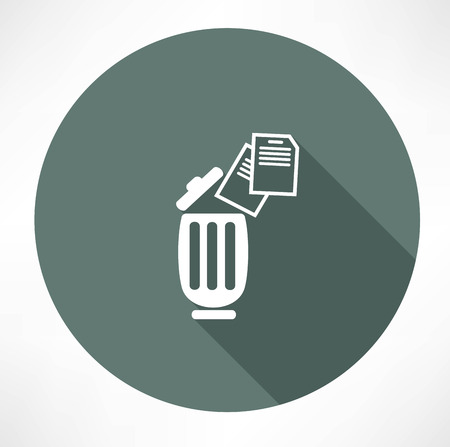 creased: bin with documents icon Illustration