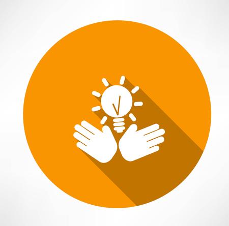 idea in the hands icon Illusztráció