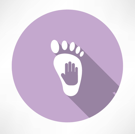 raise the thumb: leg and hand print icon