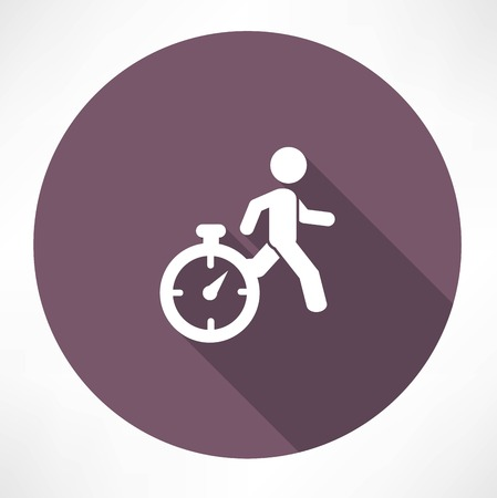 time out: man running out of time icon Illustration