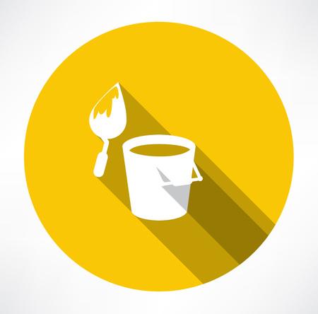 bucket construction trowel icon Vector