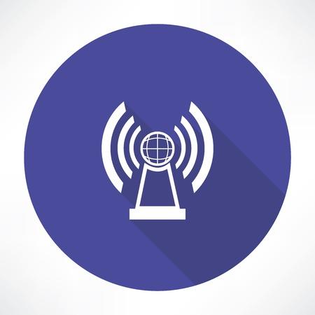 satellite transmitter: radio station icon Illustration