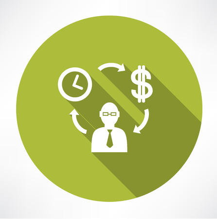cash cycle: Time exchange to money Illustration
