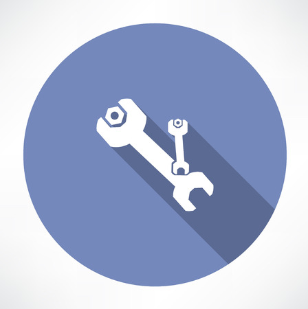 wrench and nut symbol Vector