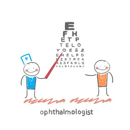 miopia: controlli oculista vista del paziente con il test Vettoriali