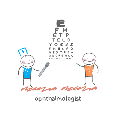 myopia: ophthalmologist checks sight of the patient with the test Illustration