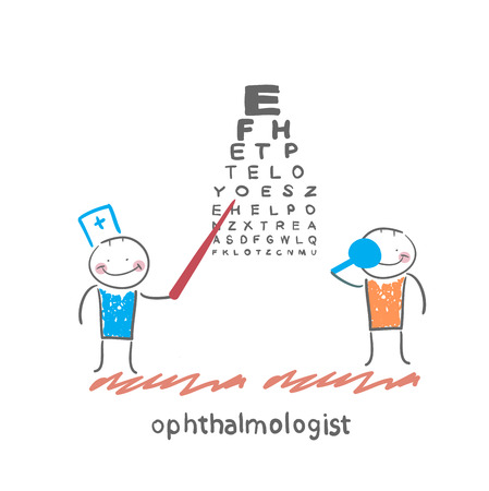 ophthalmologist: ophthalmologist checks sight of the patient with the test Illustration