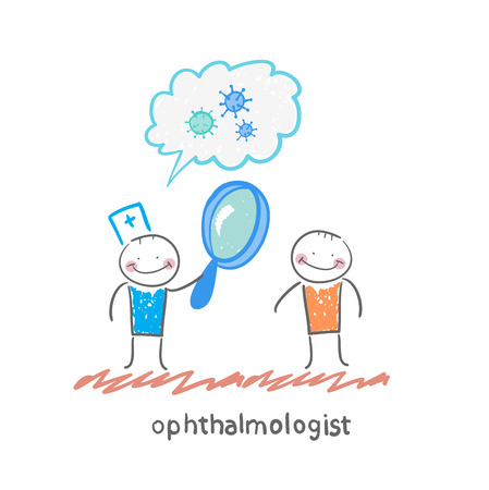 ophthalmologist: ophthalmologist tells the patient about bacteria and looking through a magnifying glass