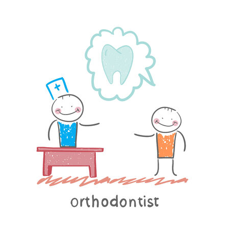 says: orthodontist says to a patient about tooth Illustration