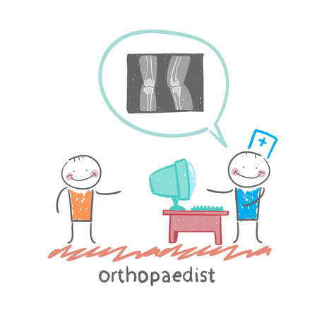orthopaedist: orthopaedist tells the patient about an x-ray