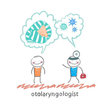 otologist: otolaryngologist says about bacteria and nose with a patient
