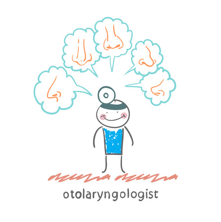 thinks: otolaryngologist thinks about different noses Illustration