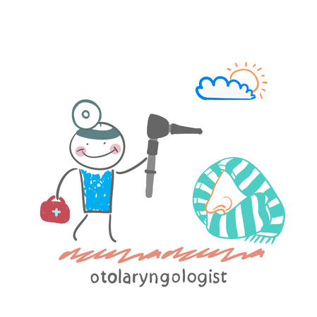see a doctor: otolaryngologist came to treat the patients nose
