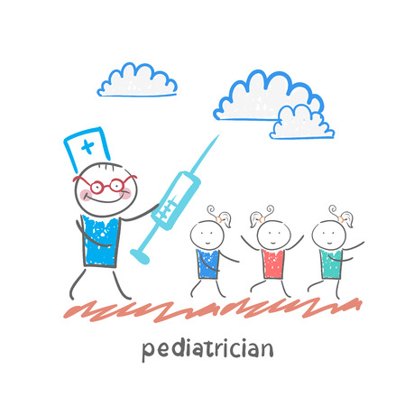 pediatrician with a syringe runs for children Illustration