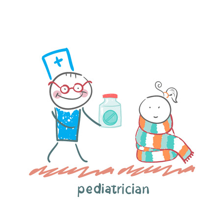pediatrician: pediatrician giving medicine to a child
